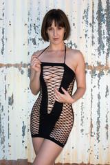 Black fishnet chemise