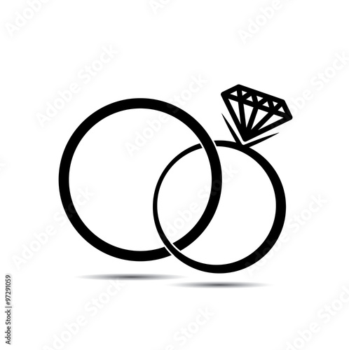 Wedding rings vector icon for background Stock image and royalty