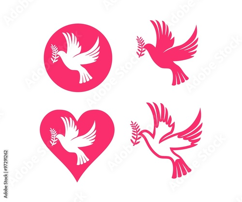 Dove Symbol Peace Love Unity Respect Set Stock Image And Royalty