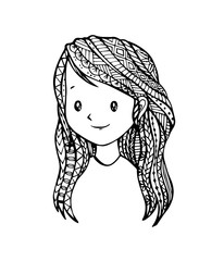 Vector of Young cute girl with long-haired in zentangle style