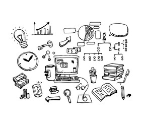 Vector set of Hand drawn sketch doodles in Business concept