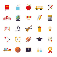 Education Flat Design Vector Icons Collection