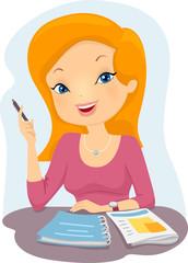 Girl Student College Study