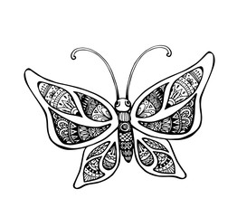 Vector of butterfly in zentangle style