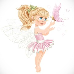 Sweet fairy in a pink tutu holding a large butterfly on the fing