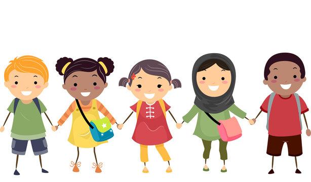 Stickman Kids School Diversity