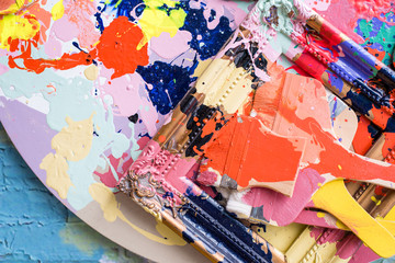 vivid color plate and paint brush