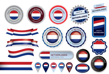 Made in Netherlands Seal, Holland Flag (Vector Art)