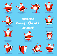 Vector set design elements funny dancing Santa Claus different character isolated on blue background