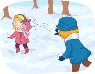 Kids Snowball Fight