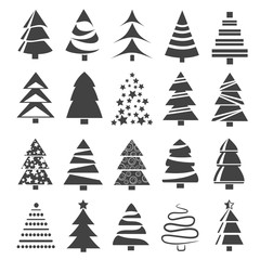 Christmas tree collection for design.