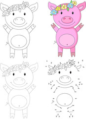 Cartoon pig. Vector illustration. Dot to dot game for kids