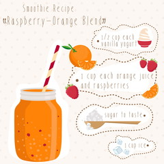 Illustration of smoothie recipe in bank mason with straw. Vector