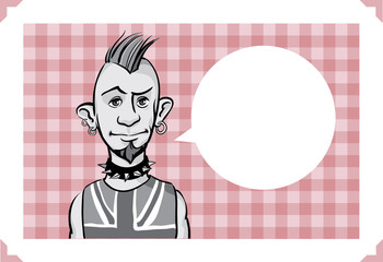 Greeting card with punk guy - place your custom text