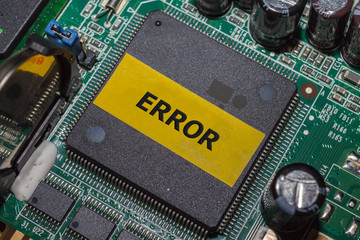 Error IC on PCB board and electronic semiconductor on board