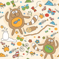 Seamless pattern with funny cat, sausages, butterflies, milk. Ve