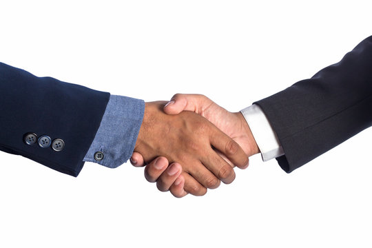 Business men shaking hands, isolated on white.