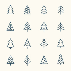 Christmas tree line icon set