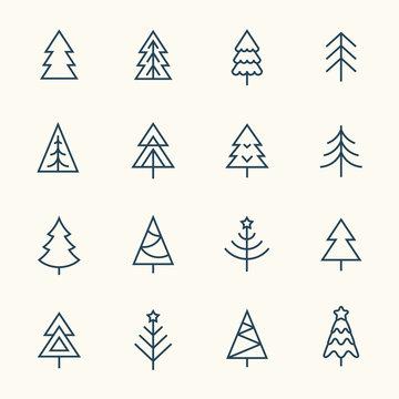 Christmas tree line icon set