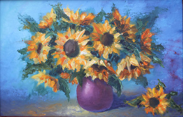 bouquet of yellow flowers in a vase, still life