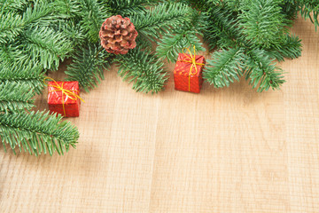 Christmas decorations with branch of spruce