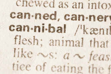 Dictionary definition of word cannibal