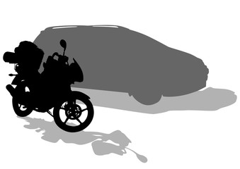 Wall Mural - Motorcycl and car on white background