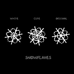 Snowflakes/Original vector white snowflakes on a black background
