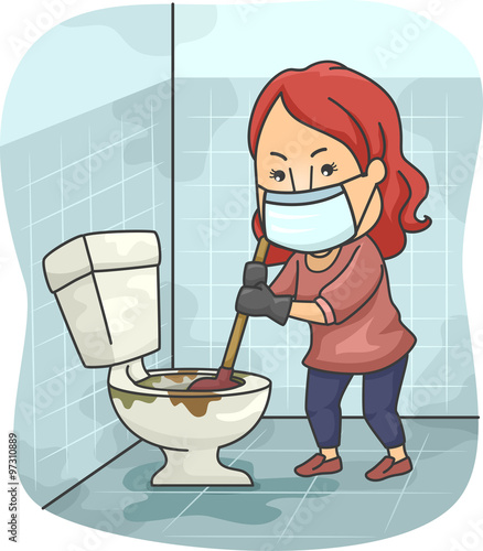 Girl Plumb Dirty Toilet. Girl Plumb Dirty Toilet  Stock image and royalty free vector files