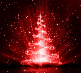 Christmas red tree, beautiful snowflakes and shining stars
