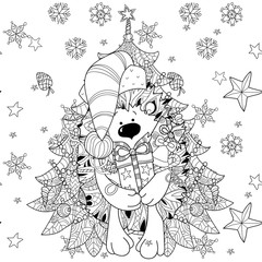 Zentangle doodle hand drawn christmas hedgehog with gift box on white background with fir tree. Christmas vector sketch isolated.Seamless pattern..