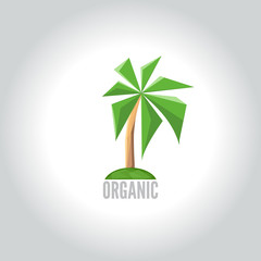Conceptual polygonal palm logo. Abstract vector Illustration, low poly style. Template for banner, poster, print, cover. Low poly style logo of the tree. Ecology Design logo. Vector Illustration.