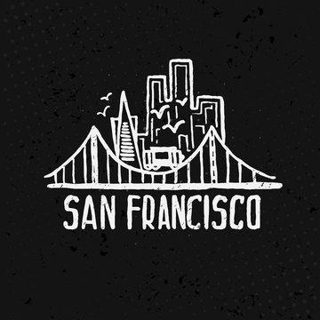 Skyline of San Francisco in watercolor. Vector