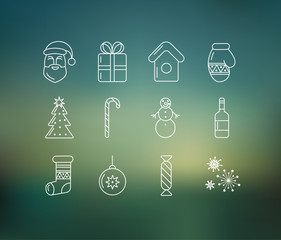 Christmas icons on soft colored abstract background