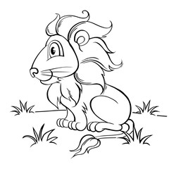 Cute cartoon lion. Black and white illustration for coloring book