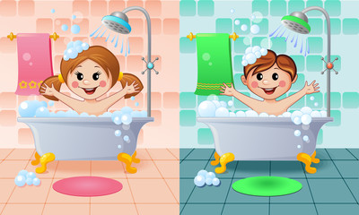 Boy and girl in the bathroom