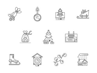 Merry Christmas line icons set