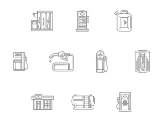 Filling and charge station flat line icons