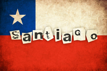 Chile grunge flag illustration of country with text