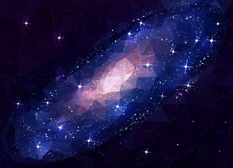 Deep Space Galaxy Andromeda. Low Poly.