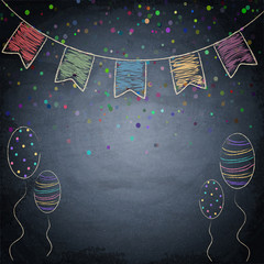 Chalkboard background with drawing bunting flags and balloons