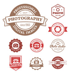 Set of photography studio logos, badges and labels