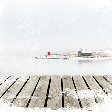 Norway Cottage on winter coast with wooden platform dock with white snow grunge