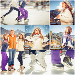 Collage several photos of happy group of ice skating people