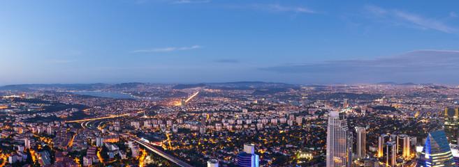 Panorama of Istanbul skyline at night