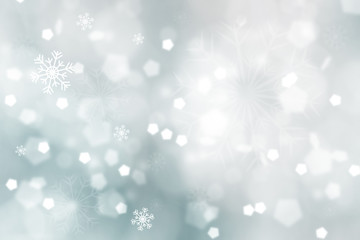 Abstract dreamy bright soft blue color blurry bokeh with snowflakes illustration. Lovely Christmas and New Year Holiday greeting card copy space background.
