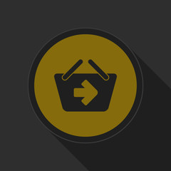 dark gray and yellow icon - shopping basket next