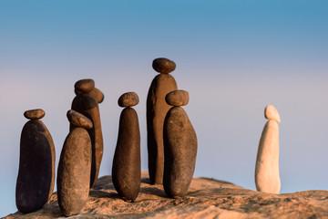 Symbolic figurines on the seashore