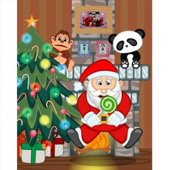 Santa Claus with christmas tree and fire place Vector Illustration