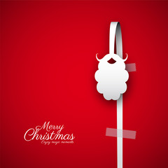 Merry Christmas papercut santa beard. Gift card Vector Illustration. Hanging on white paper bow, red background